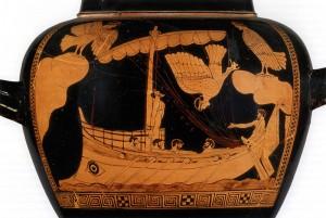 Représentation de l'exploit d'Ulysse sur une céramique grecque