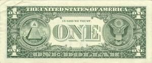 Verso d'un billet de 1 dollar, avec une pyramide à 13 degrés.