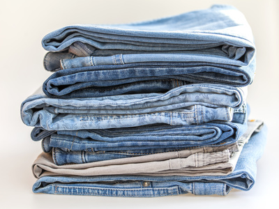 The jeans of various shades on a counter
