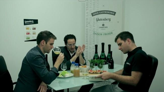 David Cayer et Julien Niquer, cofondateurs de Glutenberg, entourent François Chartier, sommelier.