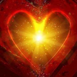 coeur rouge doré
