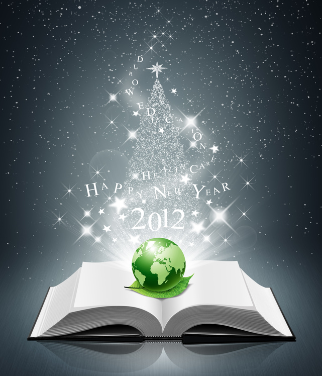 2012 happy new year and green world on open book