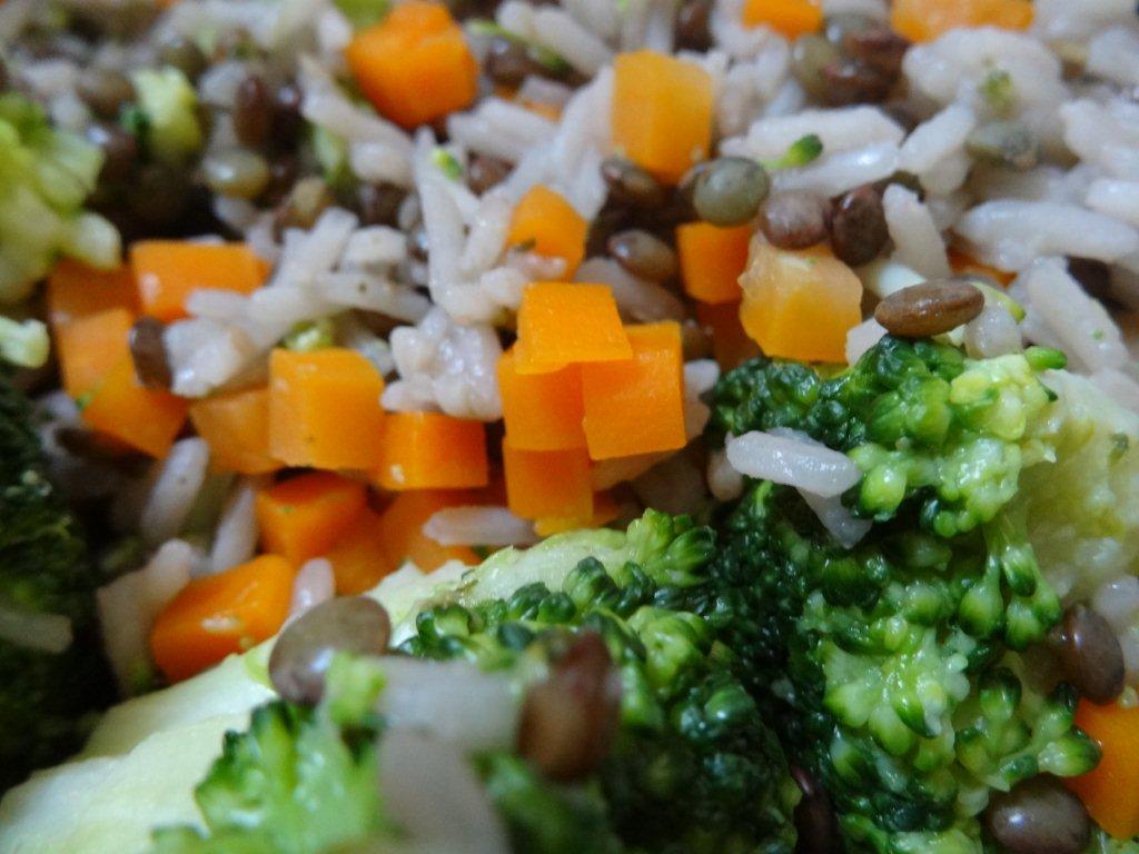 Poêlée vegan (lentilles-riz-brocolis) et gomasio